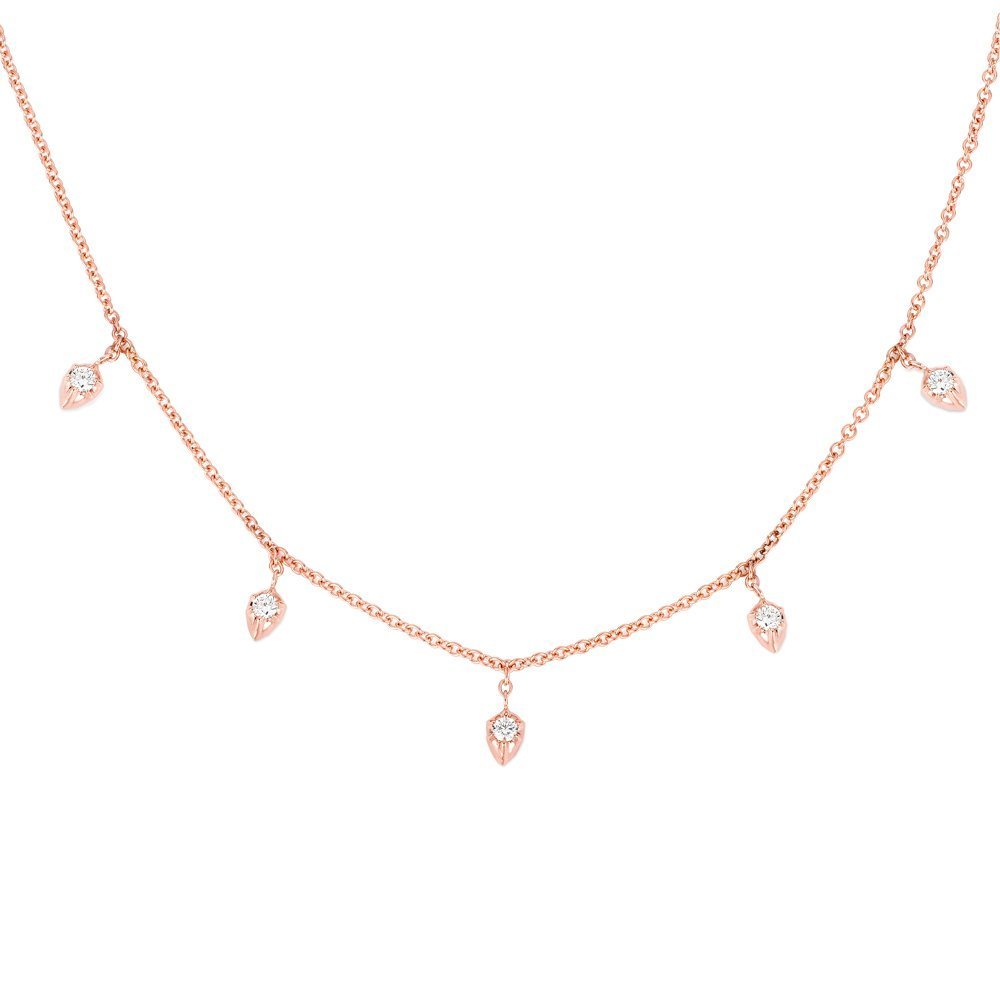 CARBON & HYDE 14CT ROSE GOLD LILY PEAR DROP NECKLACE