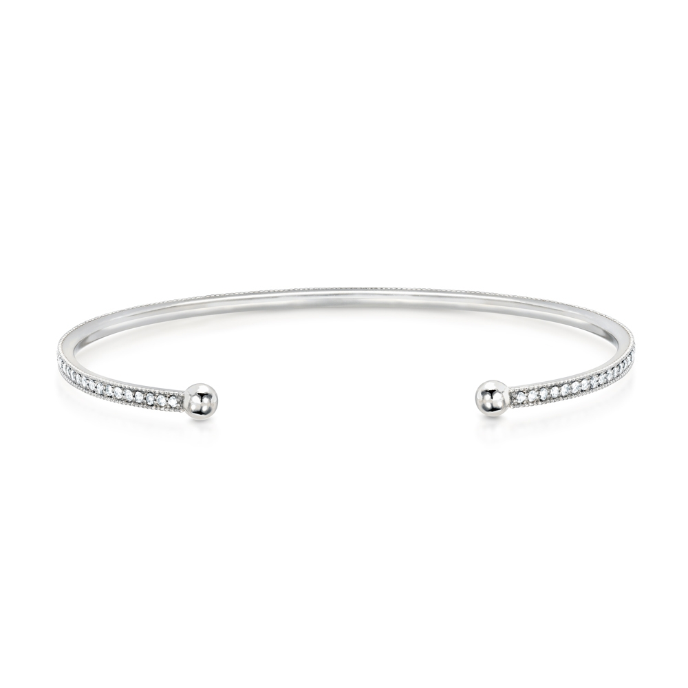 CARBON & HYDE 14CT WHITE GOLD DIAMOND CHAMPAGNE BANGLE