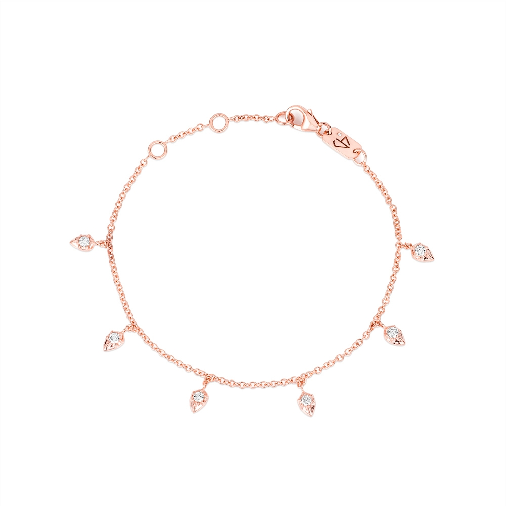 CARBON & HYDE 14CT ROSE GOLD LILY PEAR DROP BRACELET