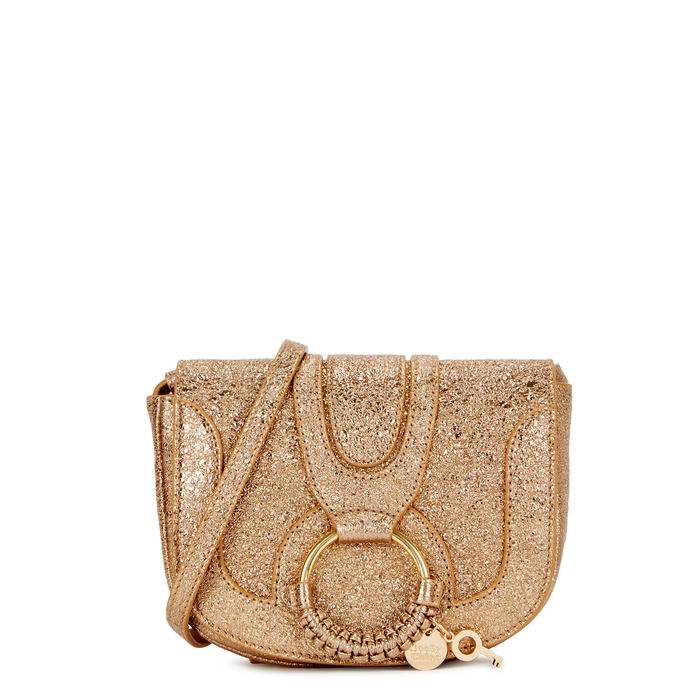 See By Chloé Leathers SEE BY CHLOÉ HANA MINI GOLD LEATHER SHOULDER BAG