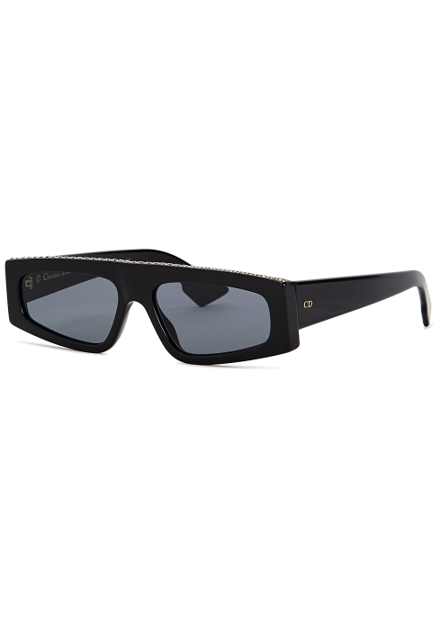 f89afc04cac9 Dior DiorPower black rectangle-frame sunglasses - Harvey Nichols