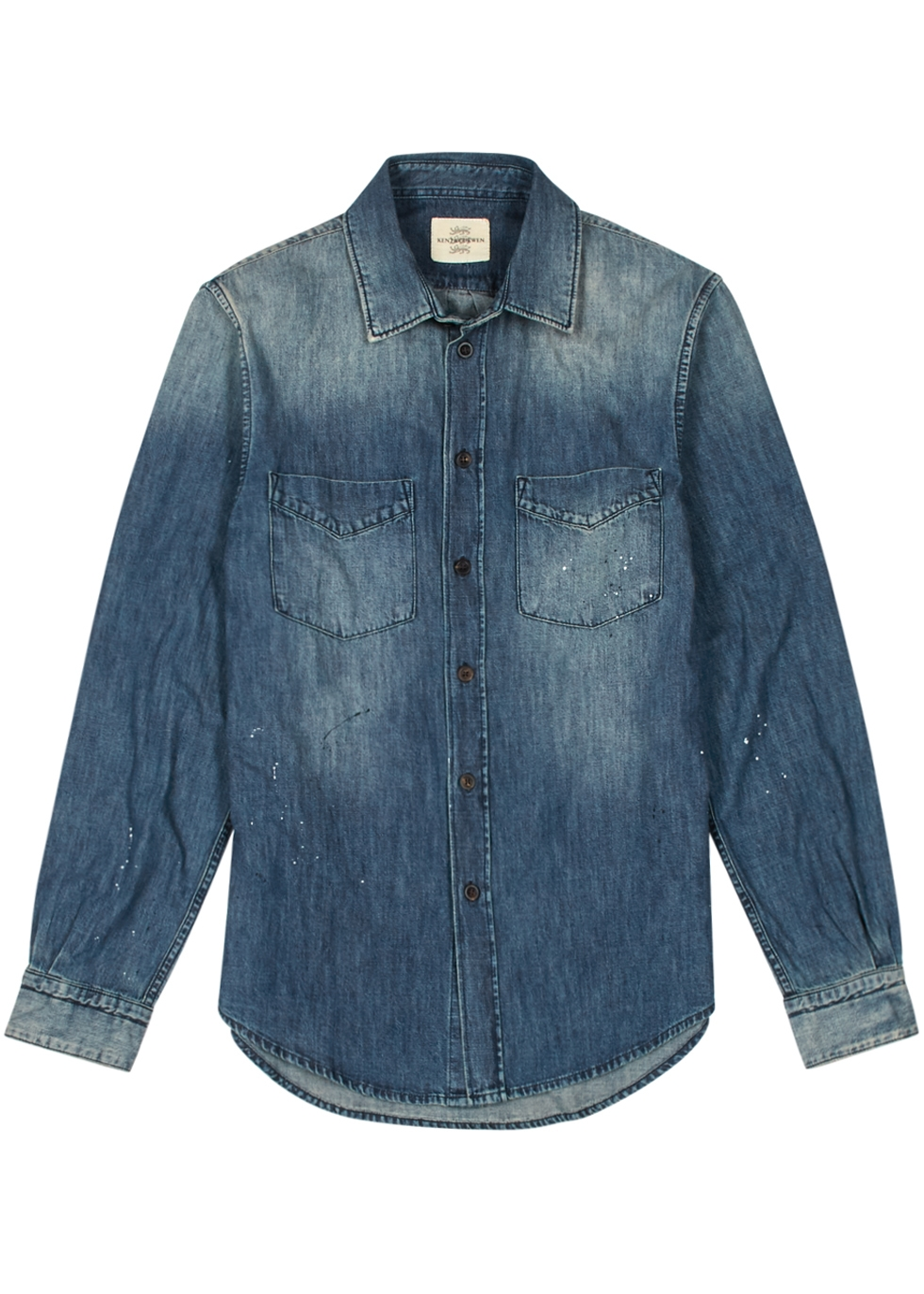 KENT & CURWEN KNOLE DISTRESSED DENIM SHIRT