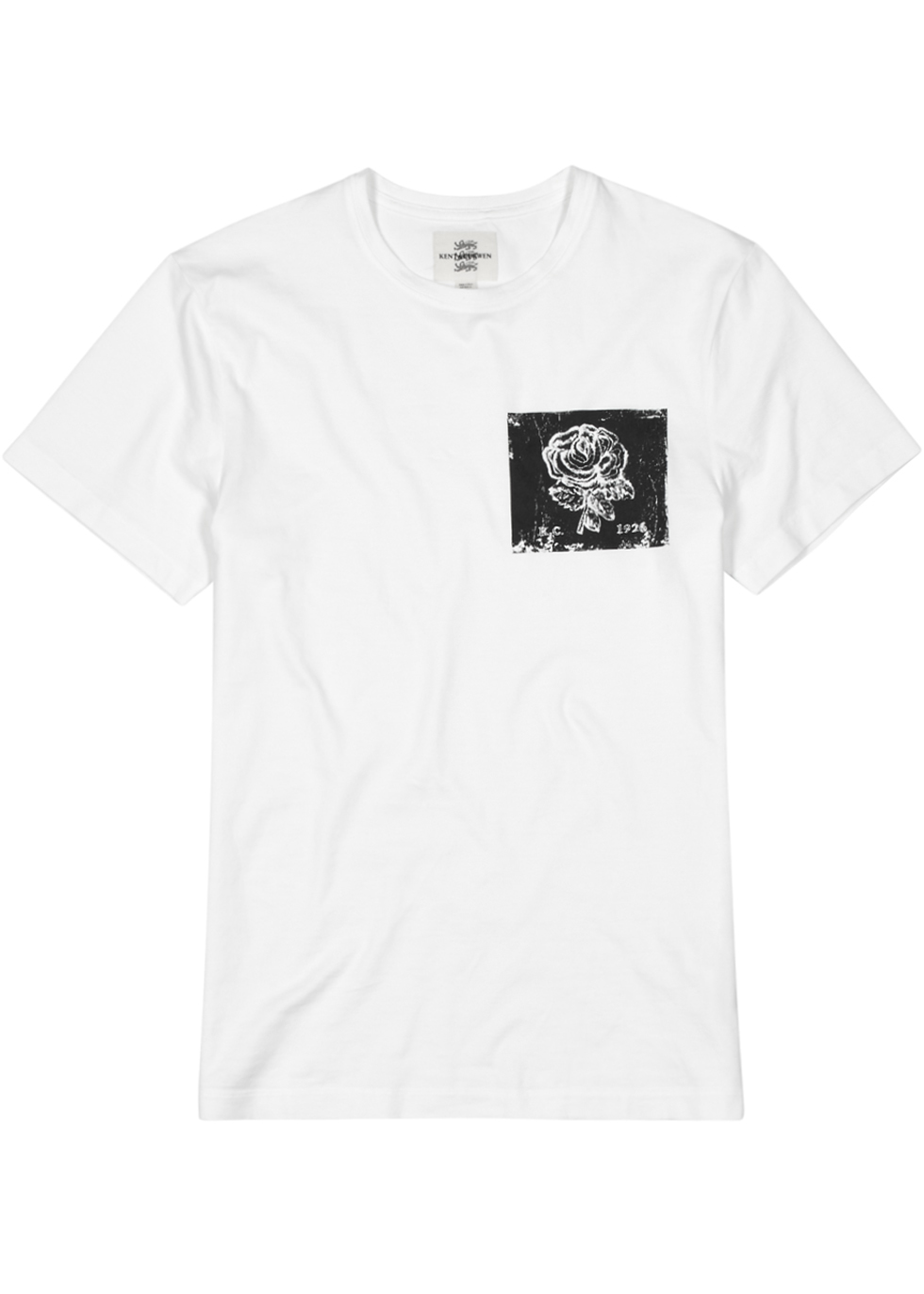 KENT & CURWEN WHITE PRINTED COTTON T-SHIRT