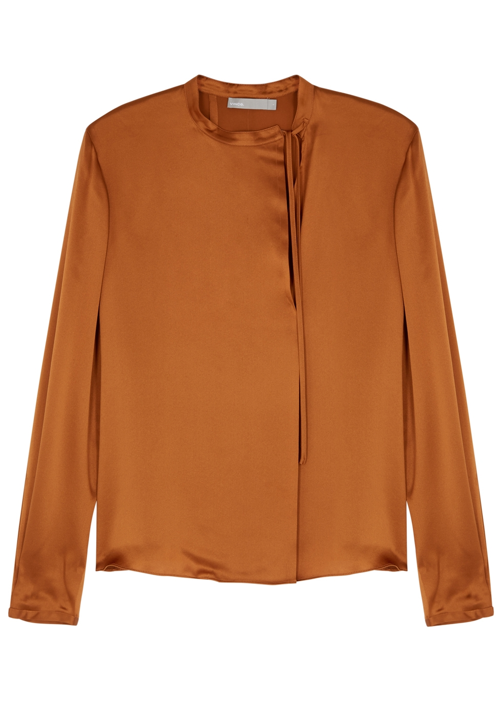 VINCE COPPER SILK SATIN SHIRT