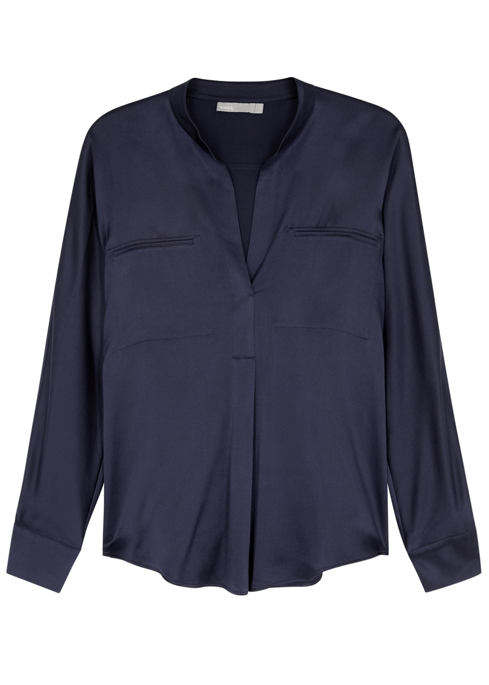 VINCE NAVY SILK SATIN SHIRT