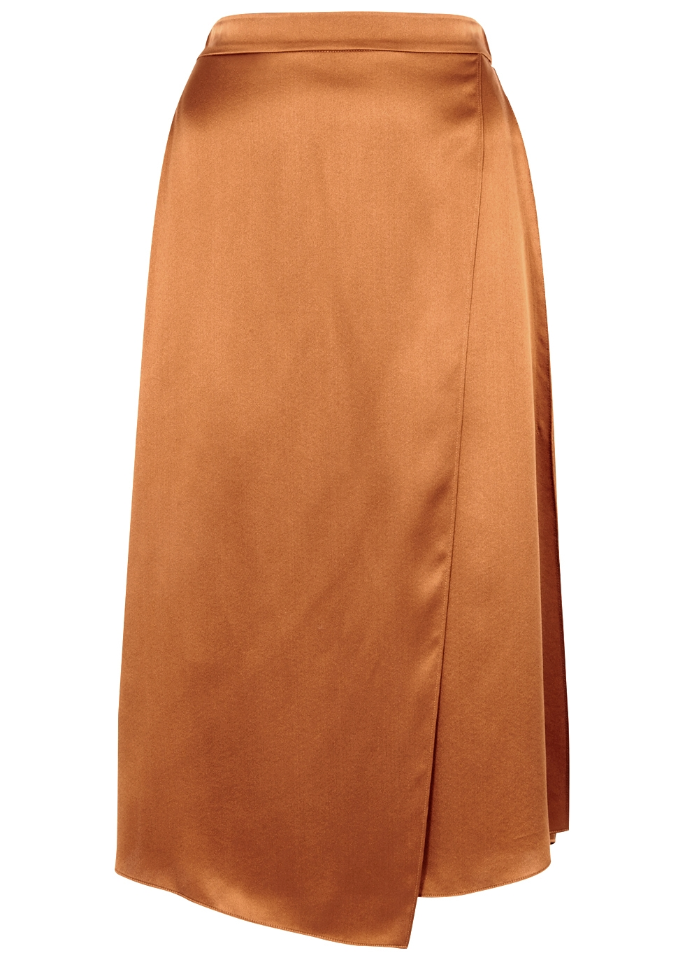 VINCE COPPER SILK SATIN SKIRT