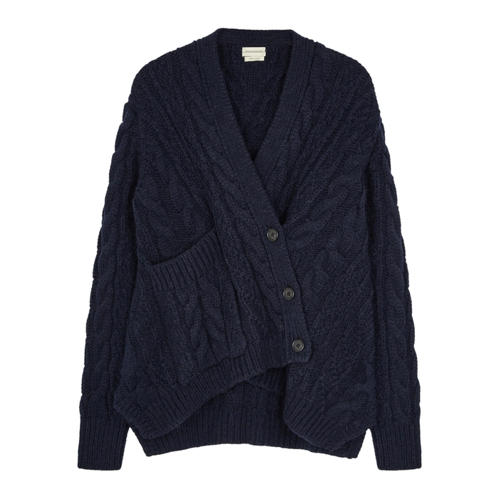 By Malene Birger TALANIE NAVY CABLE-KNIT CARDIGAN