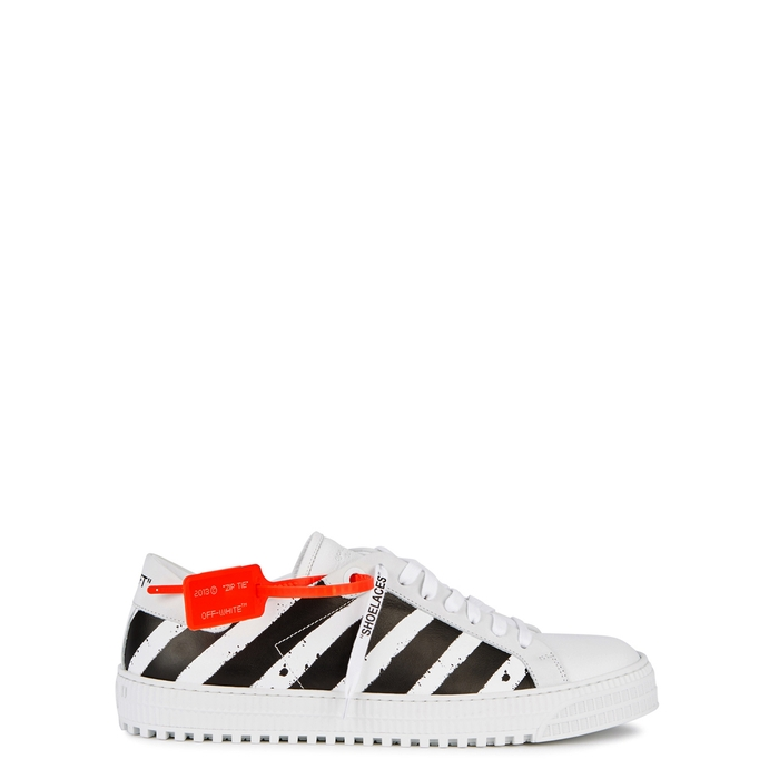 Off-White Striped Leather Trainers