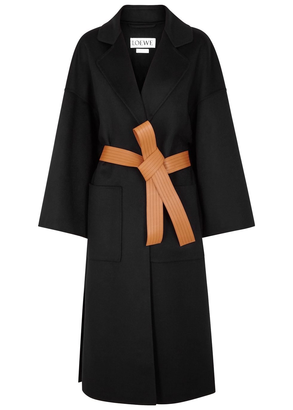 Cashmere-Wool Blend Leather-Belted Coat in Black