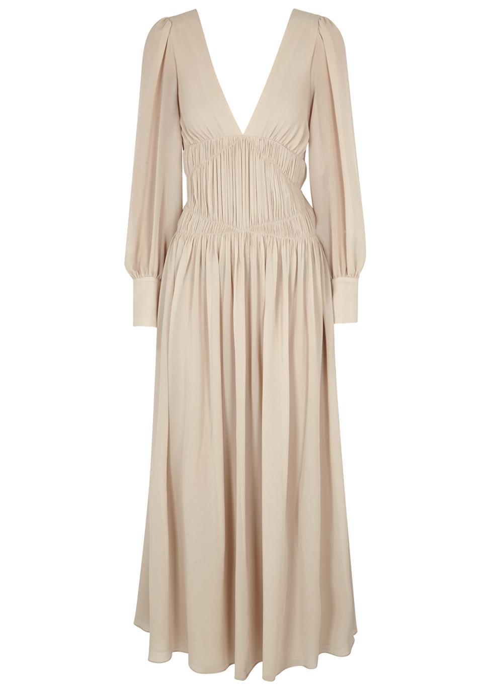Carleigh Ruched Silk-Georgette Maxi Dress in Neutrals