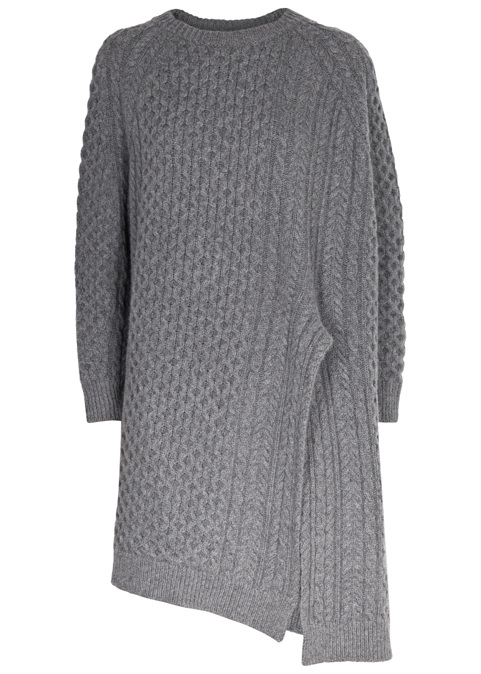 Oversized Asymmetric Cable-Knit Wool And Alpaca-Blend Sweater, Grey