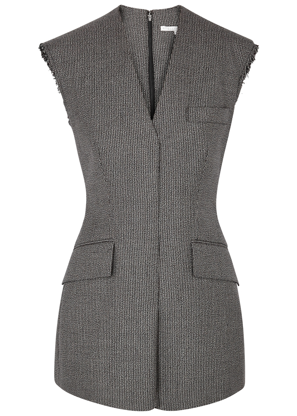 Wool And Cotton-Blend Sleeveless Jacket in Black