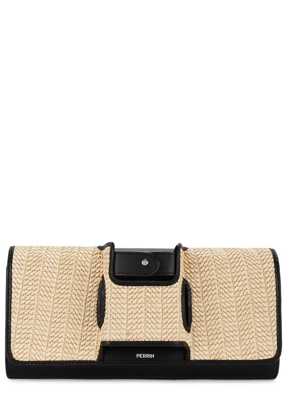 PERRIN Le Capitale Leather And Raffia Clutch in Black