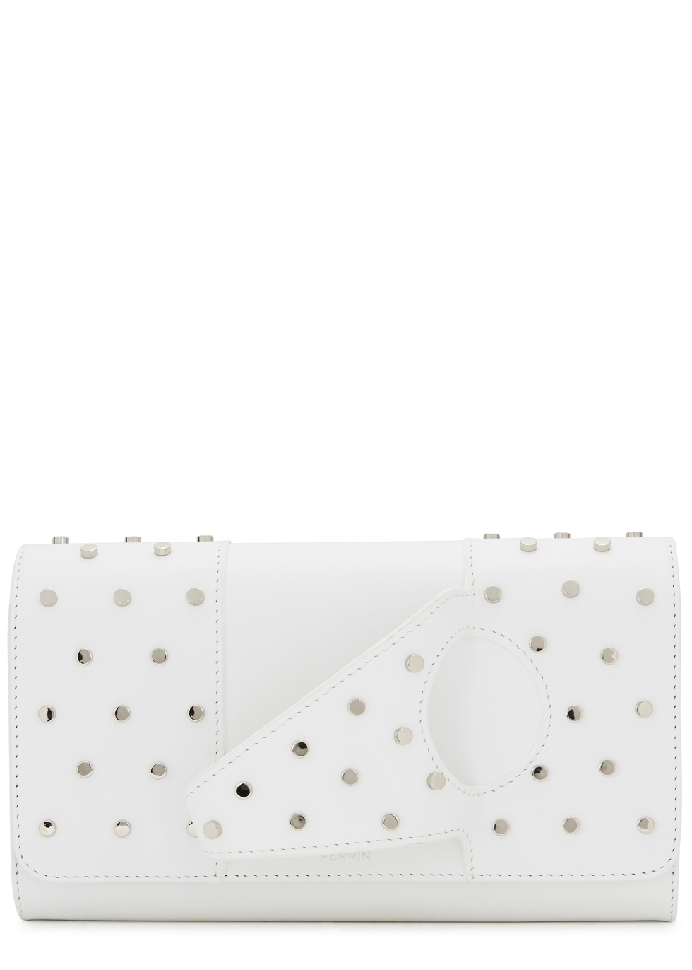 PERRIN L'ASYMETRIQUE STUDDED LEATHER CLUTCH