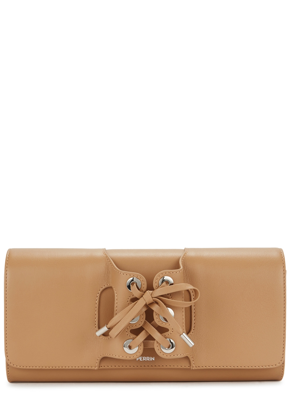 PERRIN LE CABRIOLET CAMEL LEATHER CLUTCH