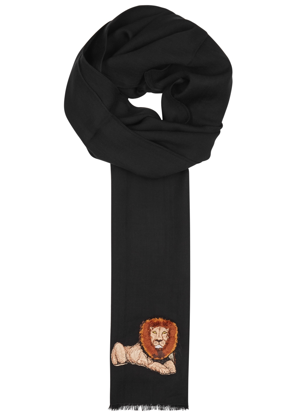PAUL SMITH Black Lion-Embroidered Wool Scarf