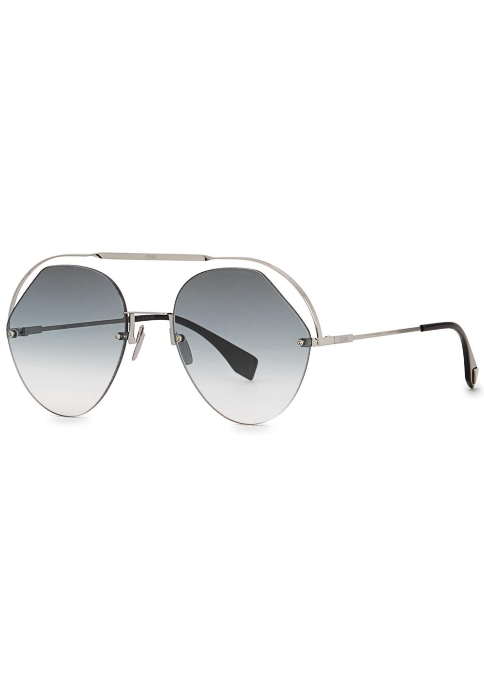 FENDI | Fendi Silver-Tone Aviator-Style Sunglasses | Goxip