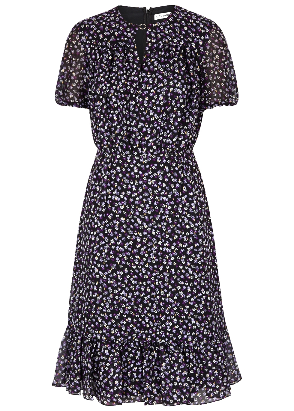 LAUREL FLORAL-PRINT SILK-BLEND DRESS