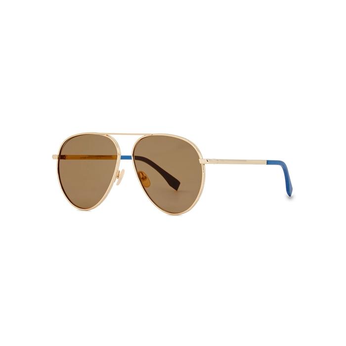 Fendi Gold-tone Aviator-style Sunglasses
