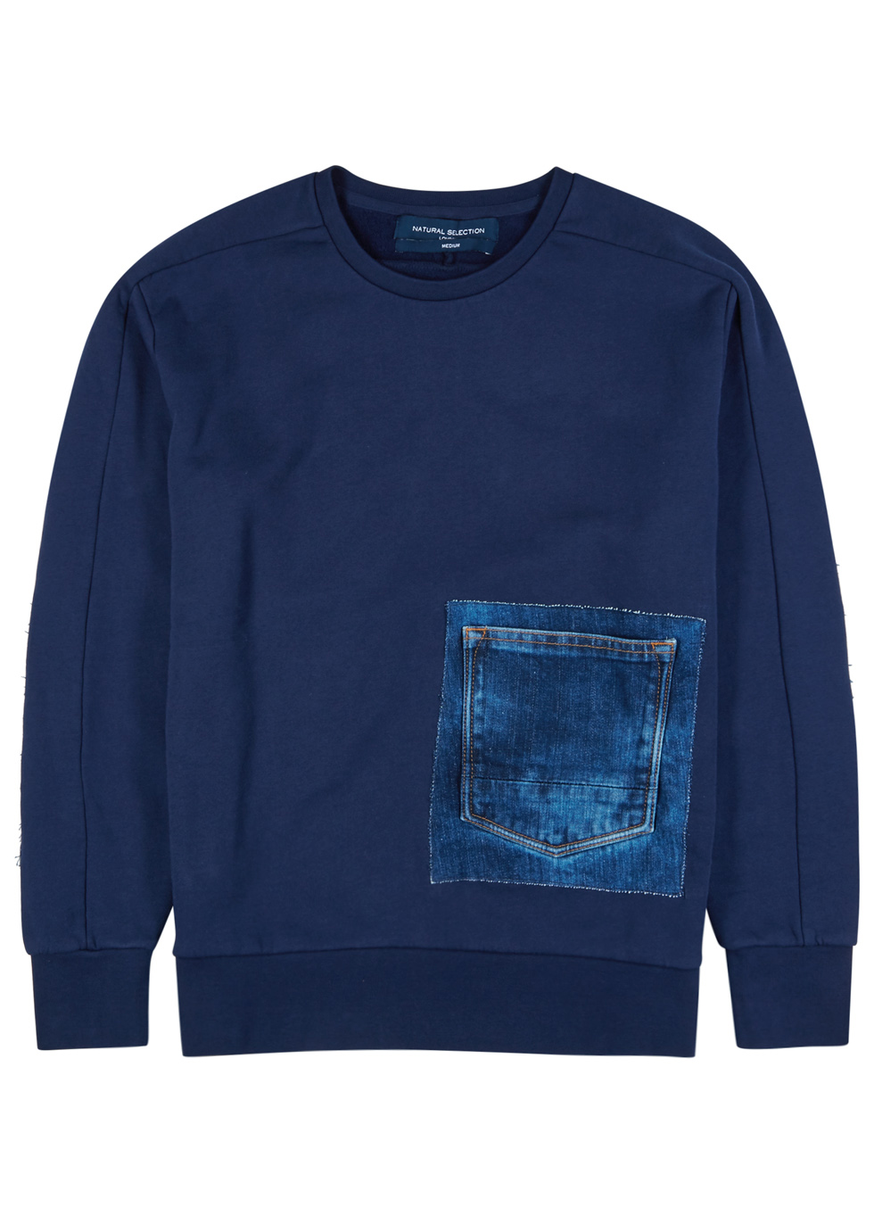 NATURAL SELECTION LINEAR NAVY COTTON AND DENIM SWEATSHIRT