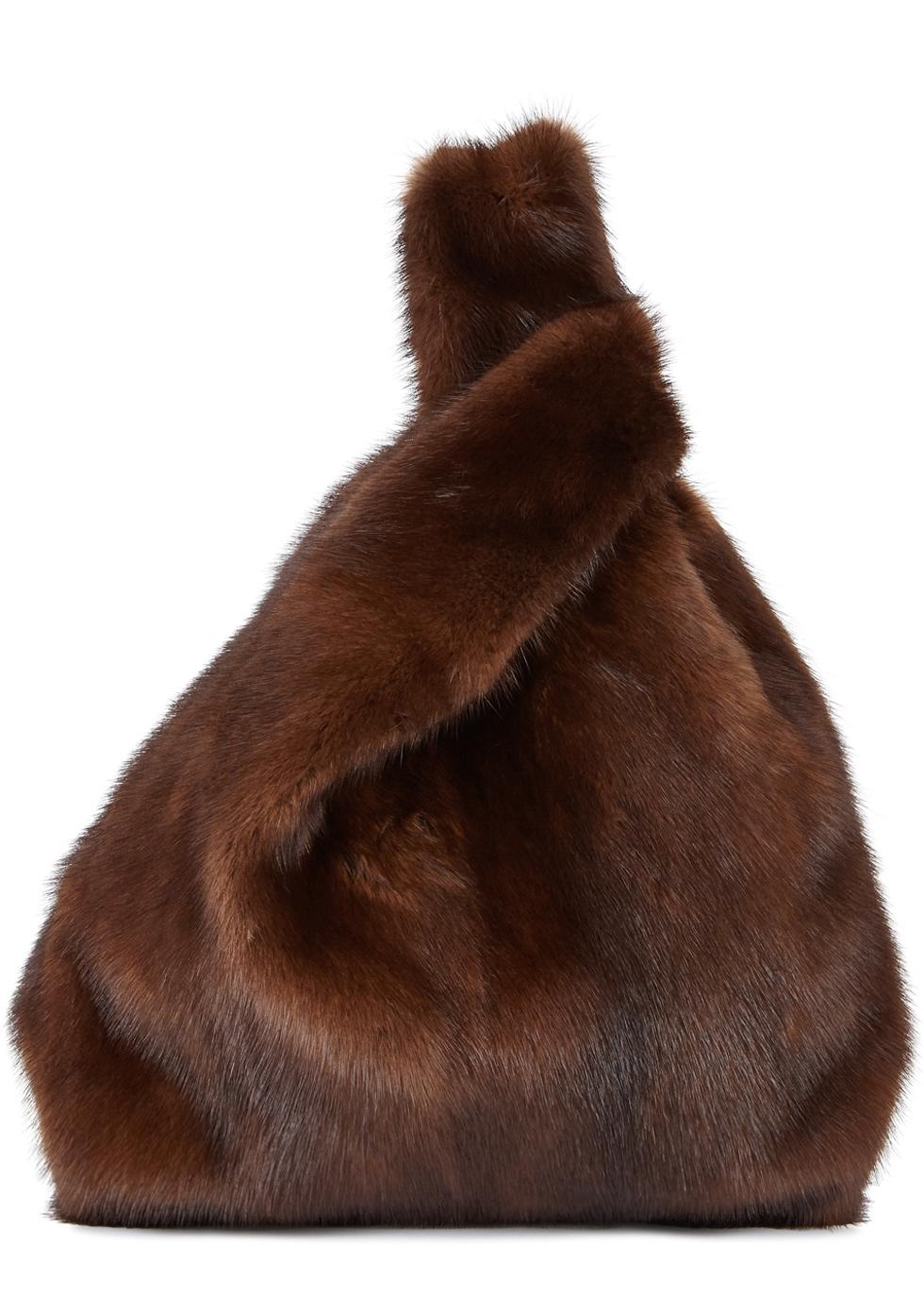 Furrissima brown mink fur tote ...