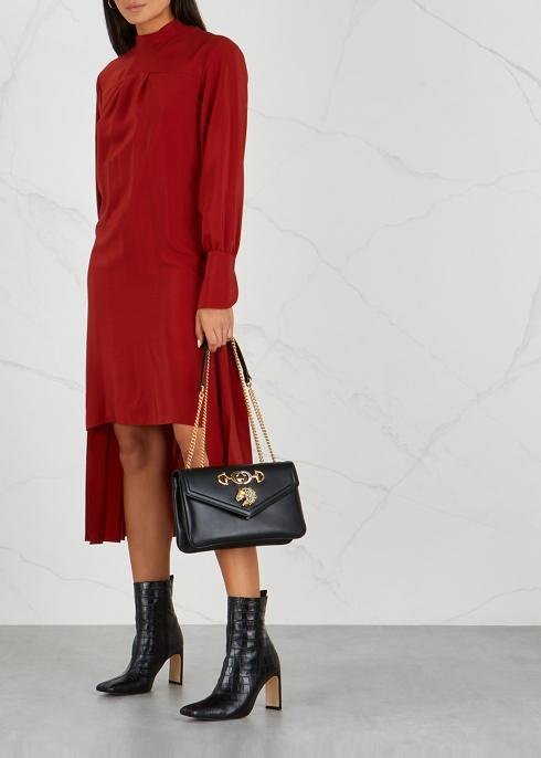 5e13f0a182c4d Gucci Rajah medium black leather shoulder bag - Harvey Nichols
