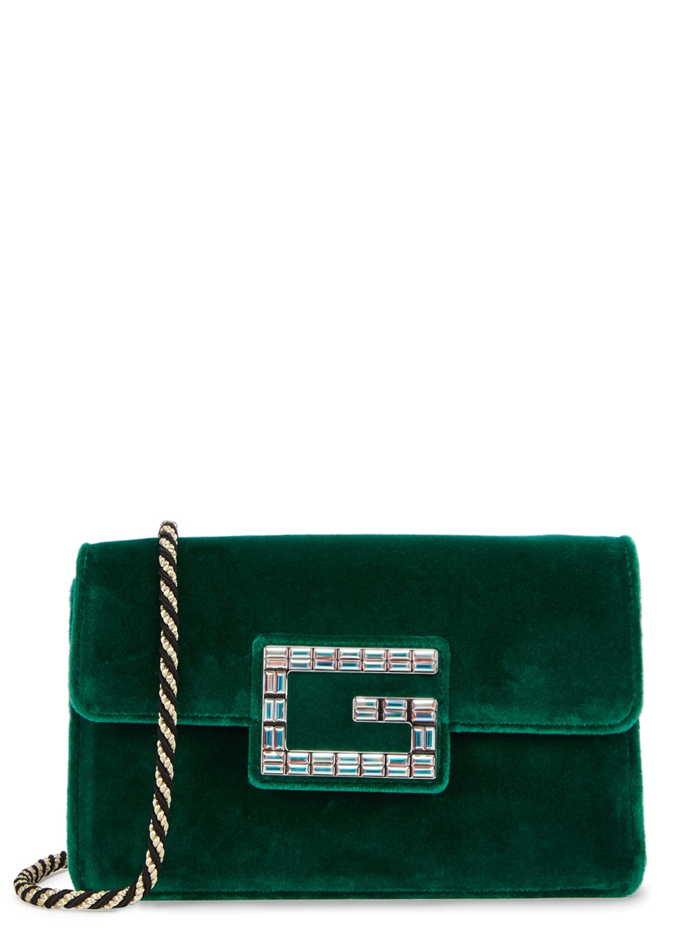 Broadway Crystal G Velvet Shoulder Bag in Green