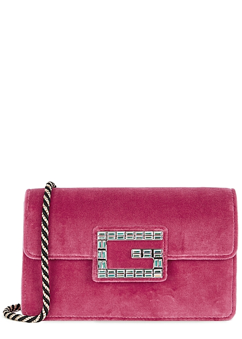 82630e4dbcdf Gucci Broadway pink velvet shoulder bag - Harvey Nichols