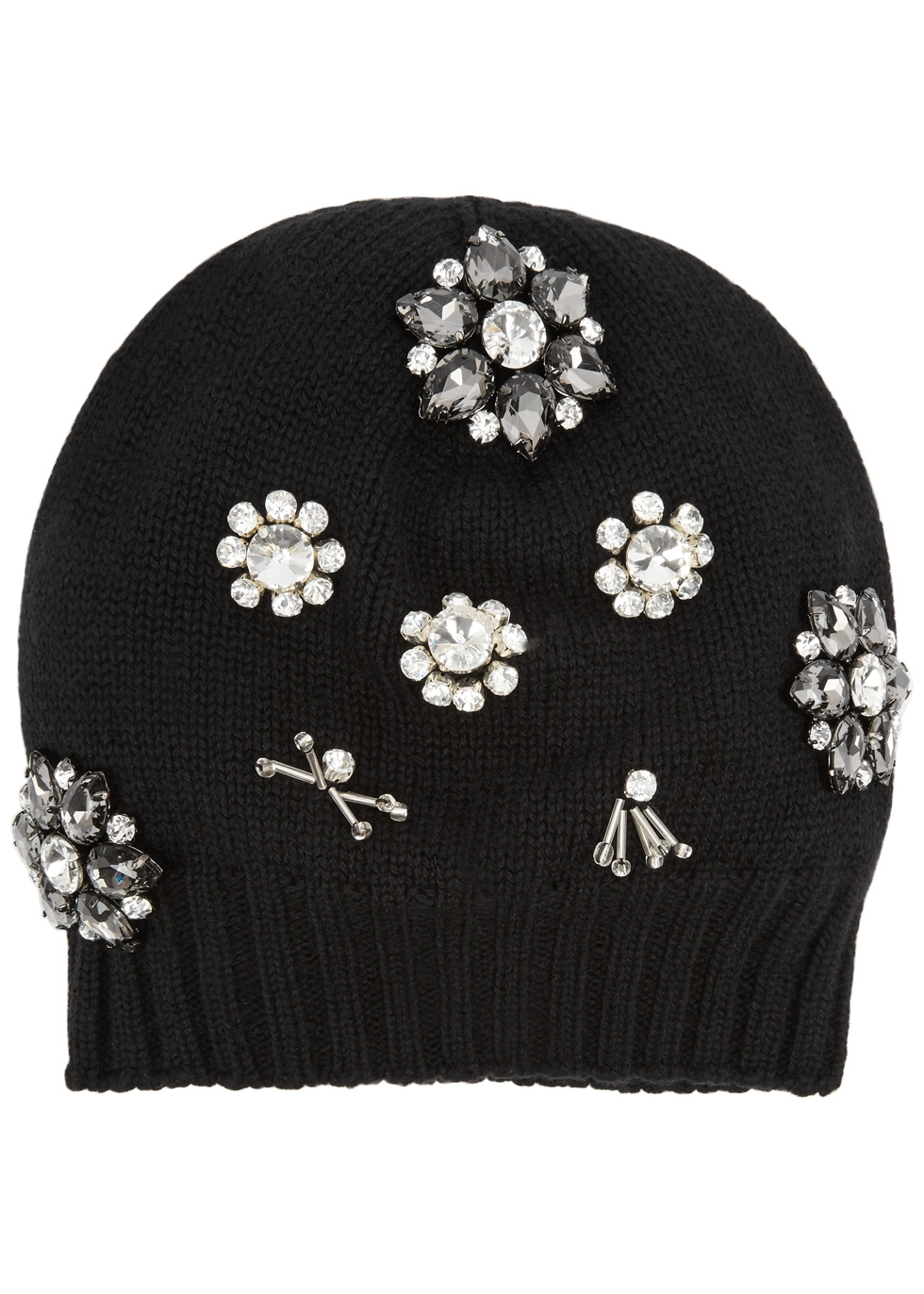 THATSAHAT ! Black Embellished Wool-Blend Beanie