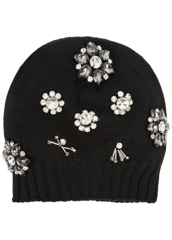 Black embellished wool-blend beanie ... e89aeb96b13