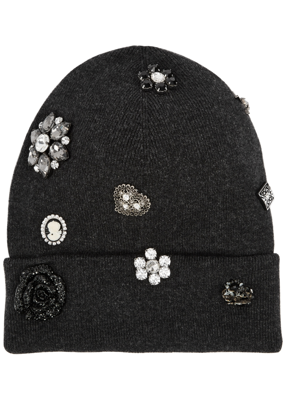THATSAHAT ! Grey Embellished Wool-Blend Beanie in Dark Grey