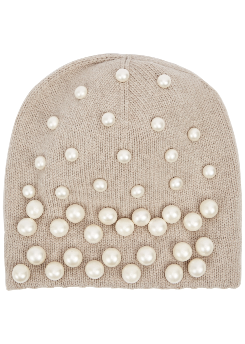 THATSAHAT ! Taupe Embellished Wool-Blend Beanie in Natural