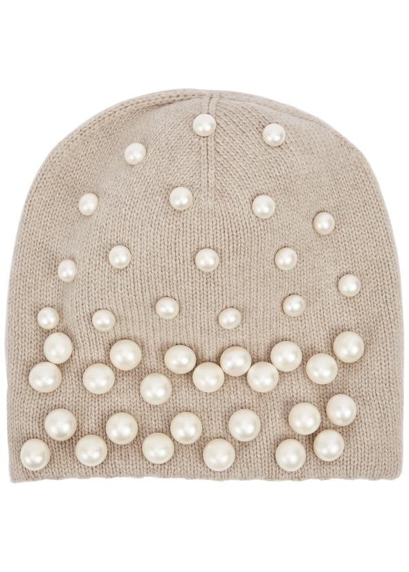 Taupe embellished wool-blend beanie ... 19298195d25