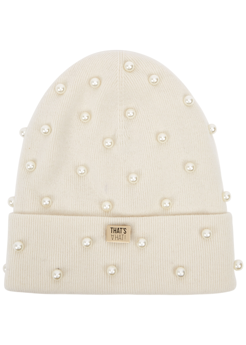 THATSAHAT ! Cream Embellished Wool-Blend Beanie