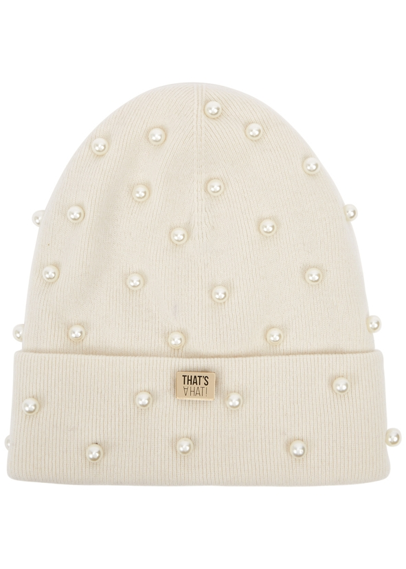 Cream embellished wool-blend beanie ... bdb8c433235