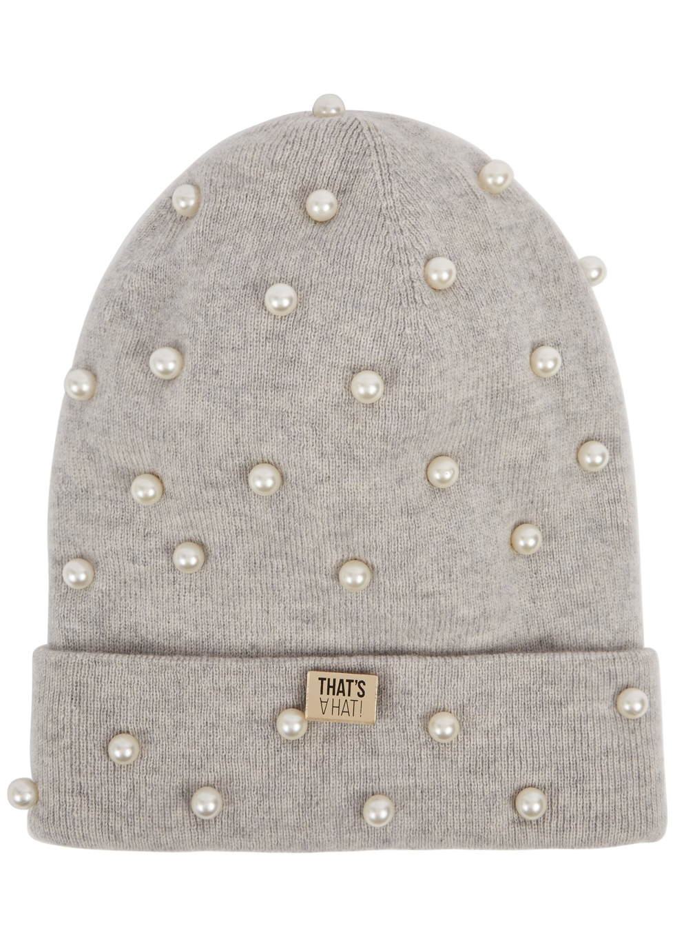 THATSAHAT ! Grey Embellished Wool-Blend Beanie