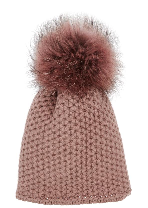 Dusky rose pompom chunky-knit beanie 7d36f27b459