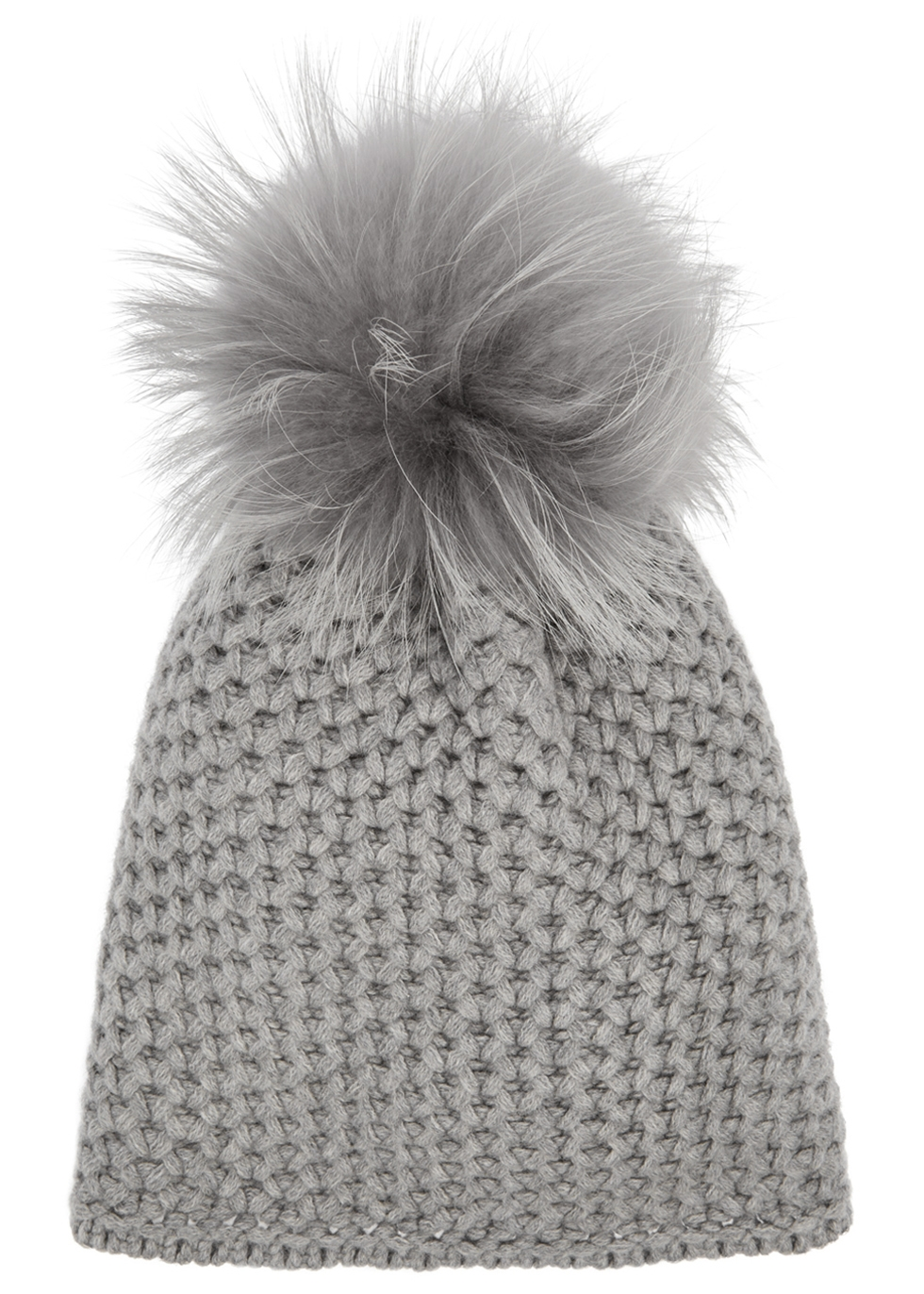 THATSAHAT ! Grey Pompom Chunky-Knit Beanie in Light Grey