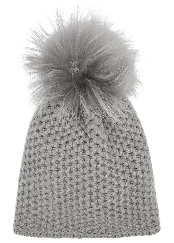 Grey pompom chunky-knit beanie d0bd6585210