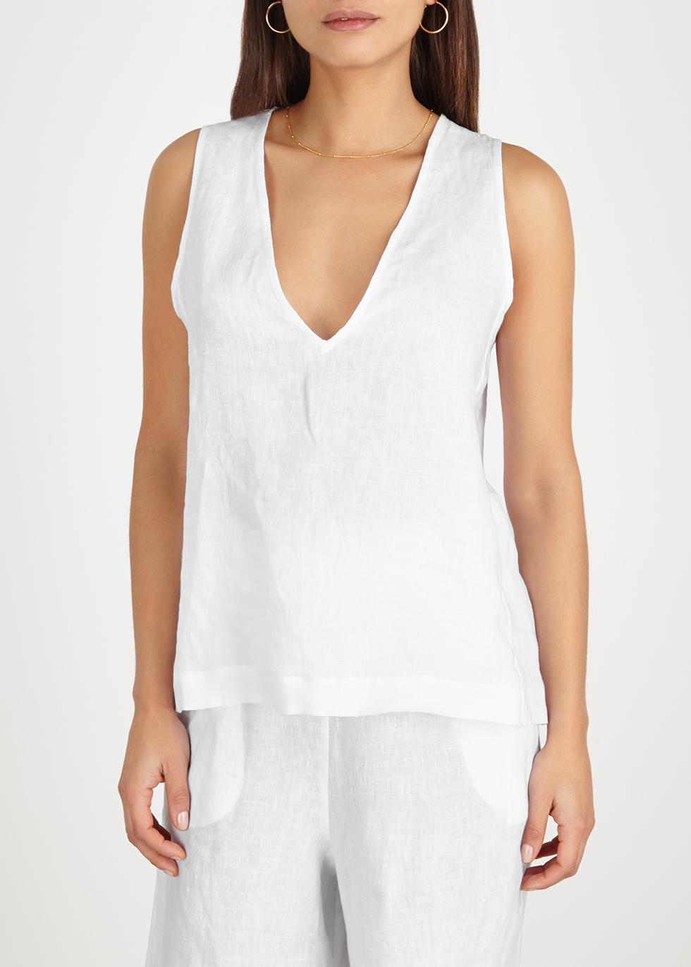 White linen top - ASCENO