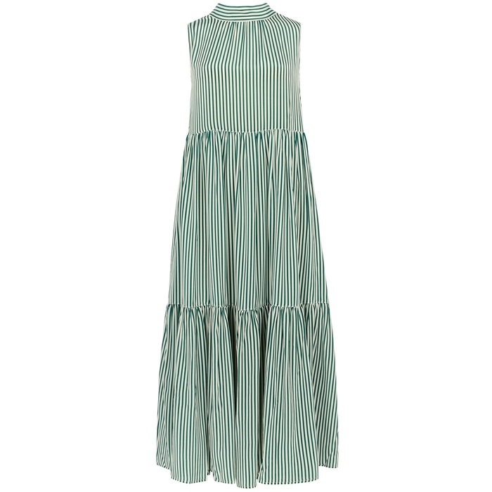 Asceno Green striped silk midi smock dress
