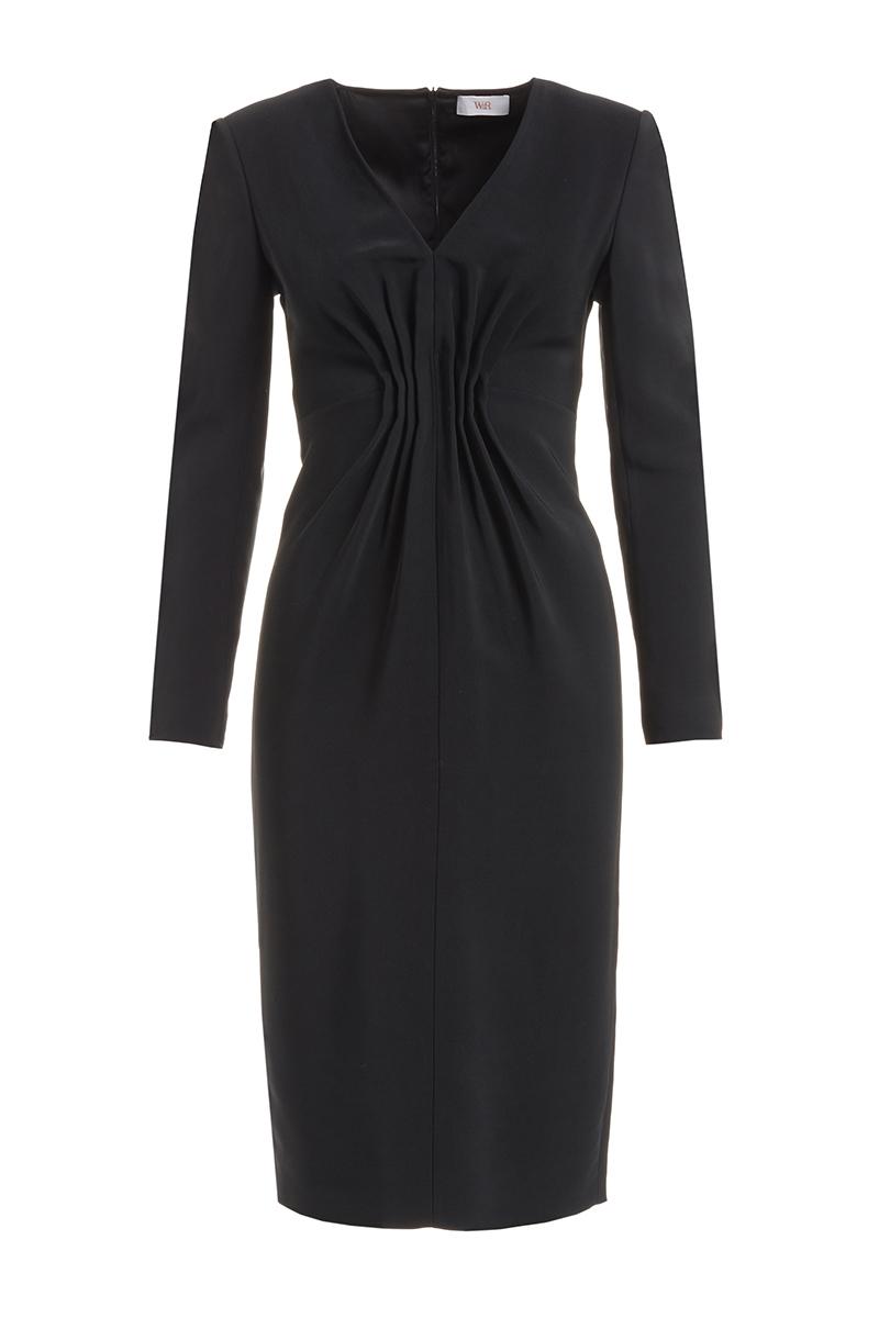 WTR  Felia Black Cady Bodycon Midi Dress