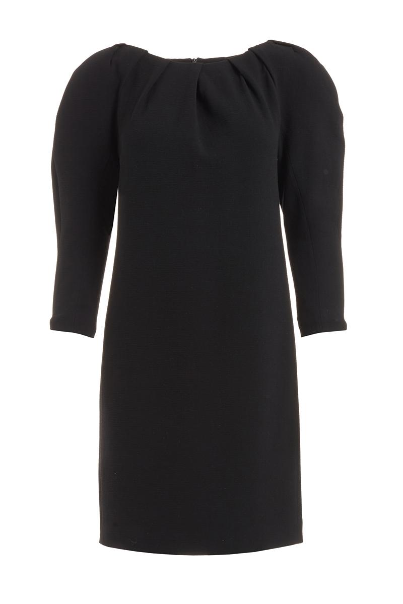 WTR  VERA BLACK PADDED SHOULDER WOOL DRESS