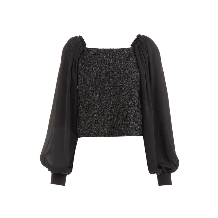 Wtr  CYRIL BLACK EMBELLISHED SILK BALLOON SLEEVE BLOUSE