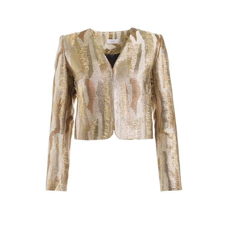 Wtr  BRAQUE GOLD CROPPED JACQUARD JACKET