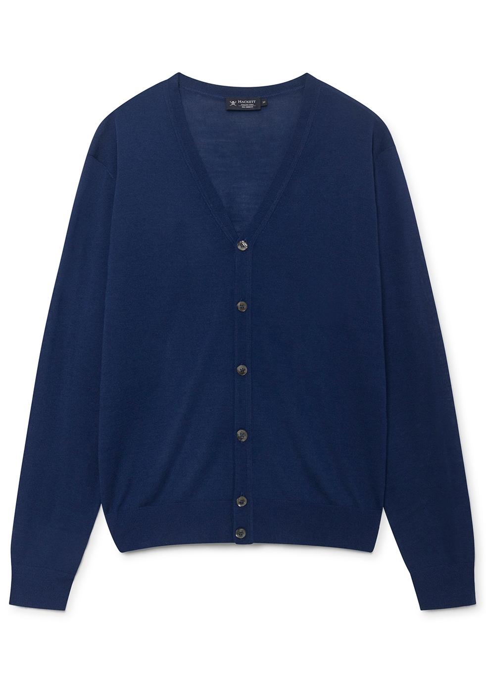 HACKETT Fine Gauge Merino Wool Cardigan in Blue