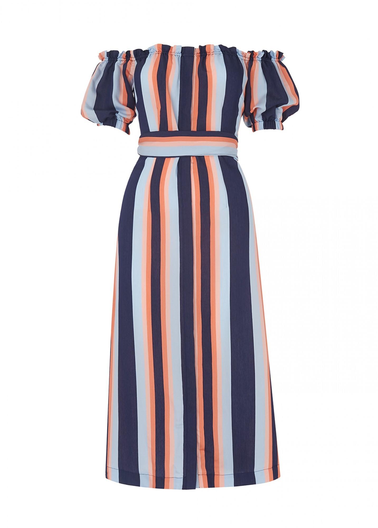 KITRI GLORIA STRIPED BARDOT DRESS