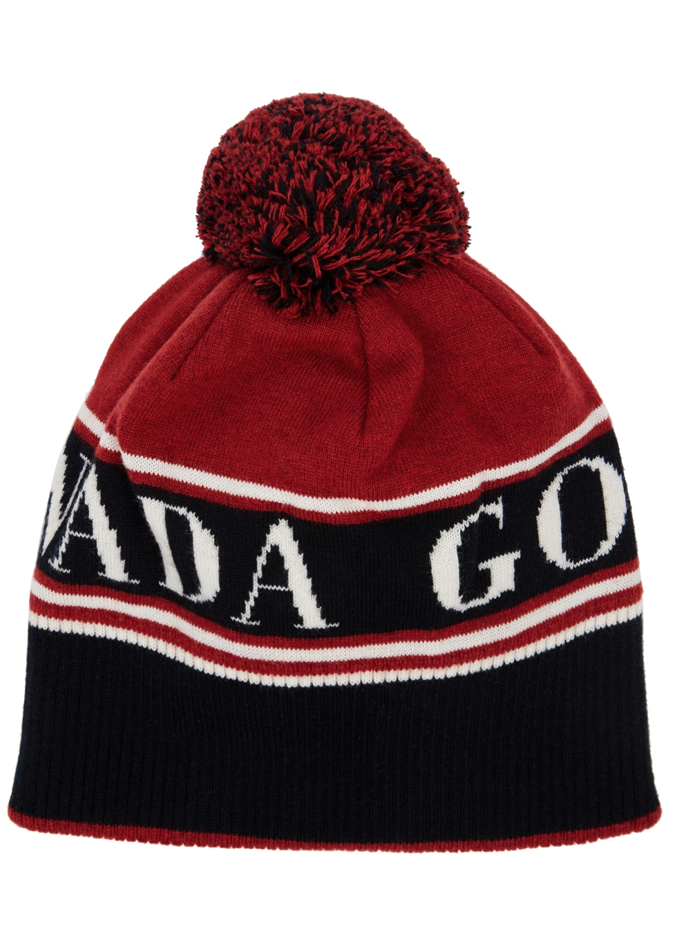 Logo Toque Beanie Hat W/ Pompom in Red
