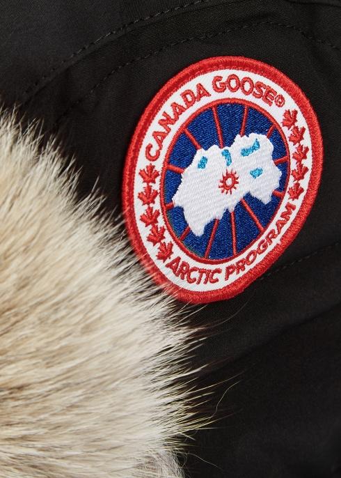 Canada Goose Black fur-trimmed shell aviator hat - Harvey Nichols ade49b57391e