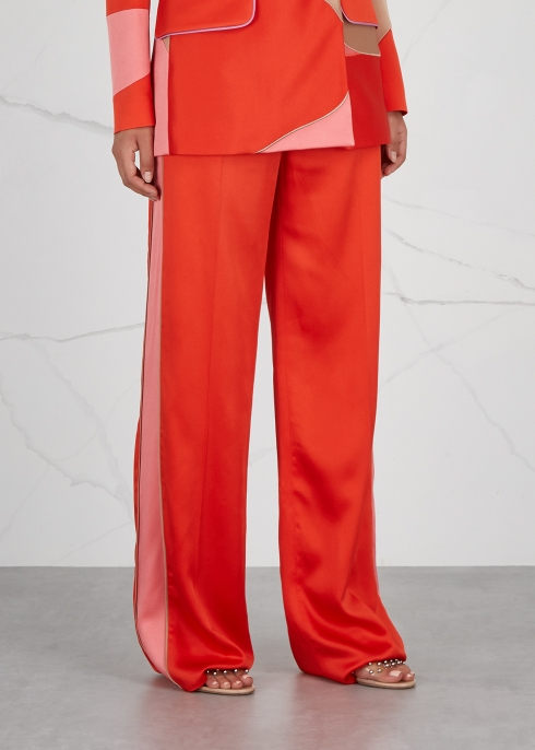 Bright red wide-leg satin trousers - Peter Pilotto